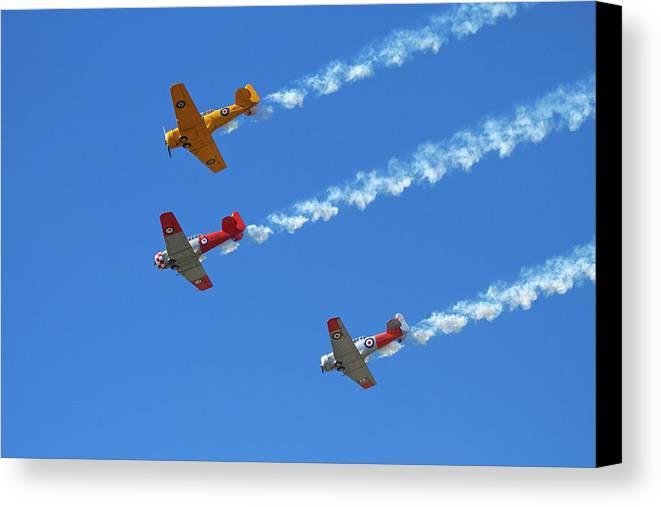 Aircraft Canvas Print featuring the photograph Aerobatic Display By North American by David Wall