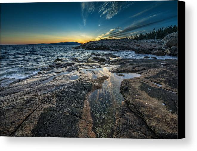 Schoodic Canvas Print featuring the photograph Day's End At Scoodic Point by Rick Berk