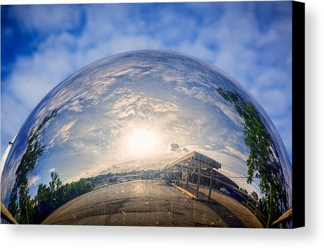 Traffic Canvas Print featuring the photograph Distorted Reflection by Sennie Pierson