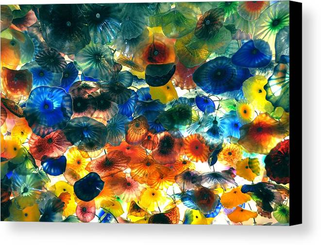 Nature Canvas Print featuring the pyrography Glass Flowers by Ernesto Cinquepalmi