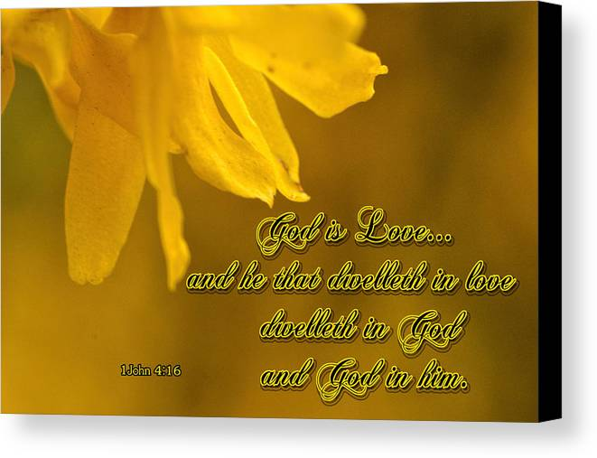 Scripture Canvas Print featuring the photograph God Is Love by Larry Bishop