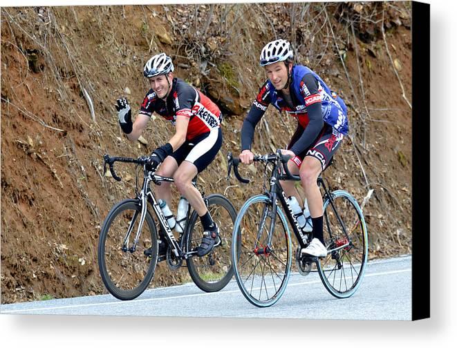 Sport Canvas Print featuring the photograph Gran Fondo Bike Ride by Susan Leggett