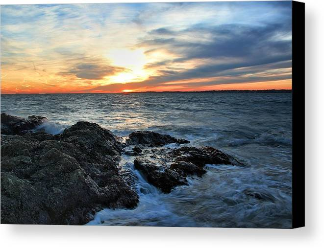 Lighthouse Canvas Print featuring the photograph New Haven Sunset by Andrea Galiffi