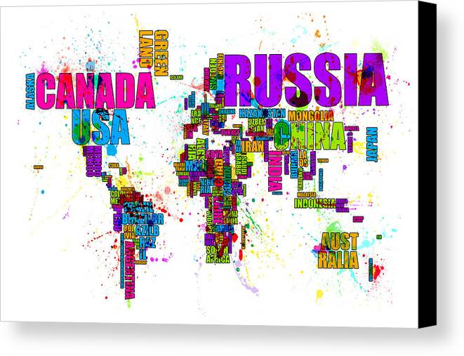 Paint splashes text map of the world canvas print canvas art by map of the world canvas print featuring the digital art paint splashes text map of the gumiabroncs Choice Image