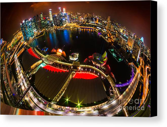 Night Canvas Print featuring the photograph Singapore City Skyline by Luciano Mortula
