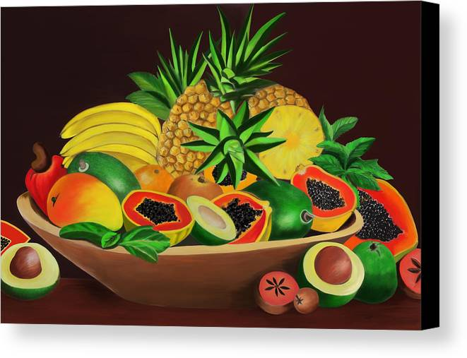 Tropical Canvas Print featuring the digital art Tropical Fruits by James Mingo