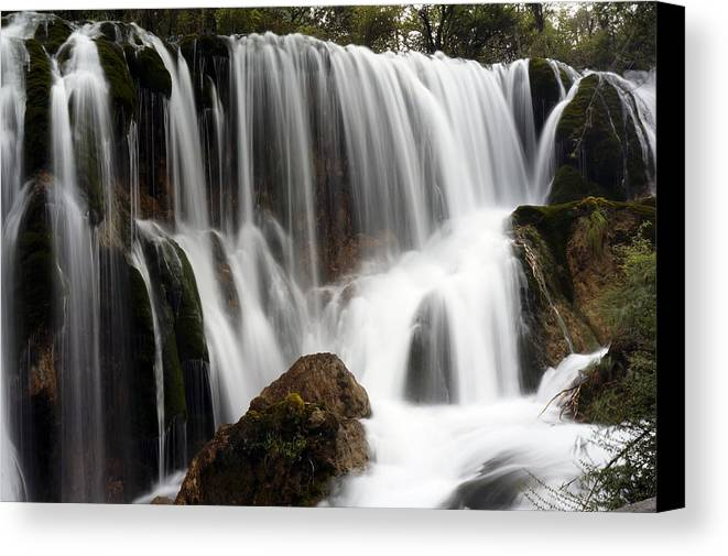 Waterfall Canvas Print featuring the photograph Waterfall by Nelson Peng