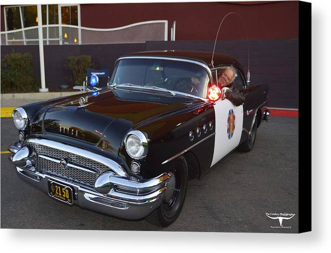 1955 Buick Highway Patrol Canvas Print featuring the photograph 2150 To Headquarters by Tommy Anderson