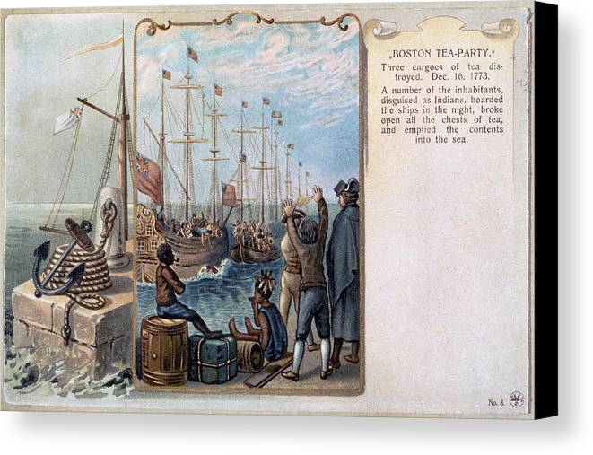1773 Canvas Print featuring the photograph Boston Tea Party, 1773 by Granger