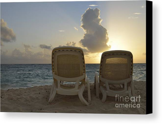 Tranquil Scene Canvas Print featuring the photograph Sun Lounger On Tropical Beach by Sami Sarkis