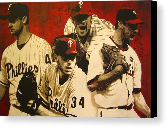 Philadelphia Canvas Print featuring the painting 4 Aces by Bobby Zeik