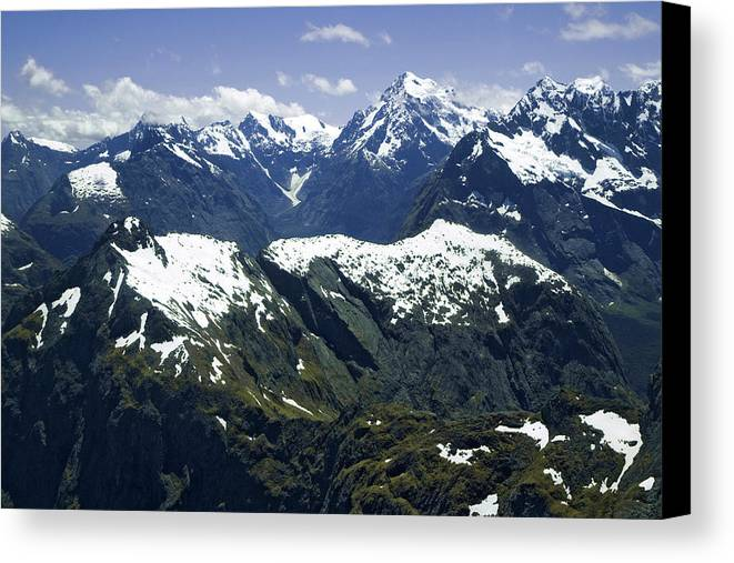 Aerial Canvas Print featuring the photograph South Pacific, New Zealand, South Island by Jaynes Gallery