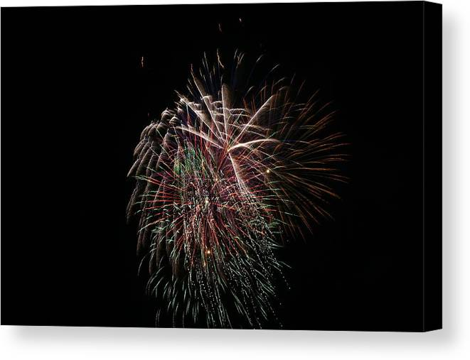 Fireworks Canvas Print featuring the photograph 4th Of July Fireworks by Alan Hutchins