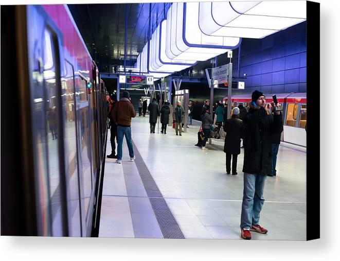 Hamburg Canvas Print featuring the photograph New Hafencity Station In Hamburg by Frank Gaertner