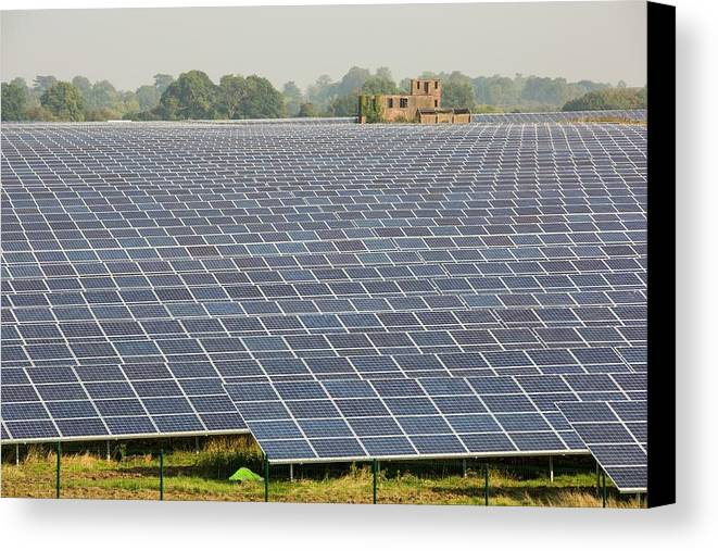 Solar Panels Canvas Print featuring the photograph Wymeswold Solar Farm by Ashley Cooper