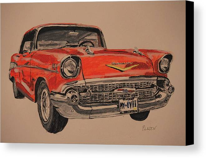 Chevy Canvas Print featuring the painting 57' Bel-aire by Patricio Lazen