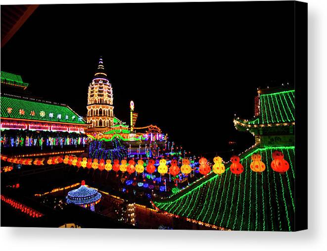 Asian Canvas Print featuring the photograph The Fantastic Lighting Of Kek Lok Si by Micah Wright