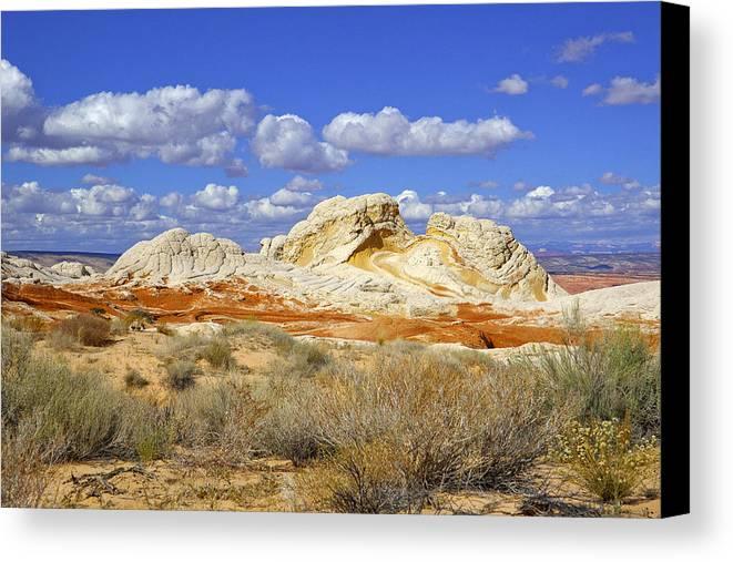 White Pocket Utah Landscape Canvas Print featuring the digital art White Pocket Utah Landscape by Amnon Suodai