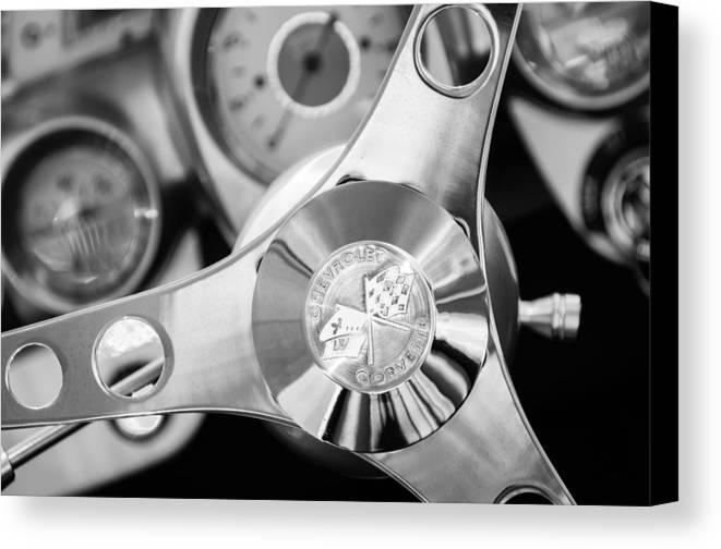 1960 Chevrolet Corvette Steering Wheel Emblem Canvas Print featuring the photograph 1960 Chevrolet Corvette Steering Wheel Emblem by Jill Reger