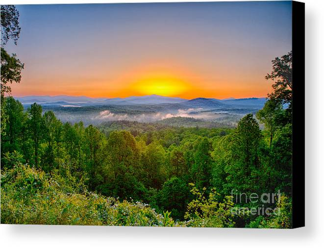 Blue Ridge Parkway Canvas Print featuring the photograph A Brighter Day Is Coming by Dan Carmichael