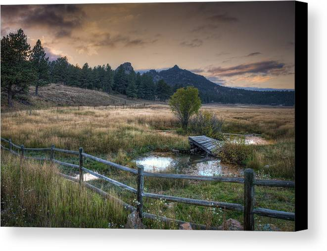 Grass Canvas Print featuring the photograph A Fence In A Field by Noah Katz