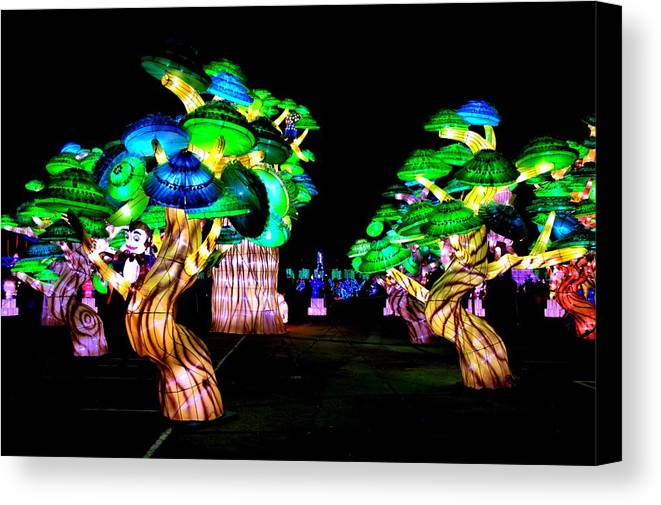 Bob Wall Canvas Print featuring the photograph A Forest Of Lanterns by Bob Wall