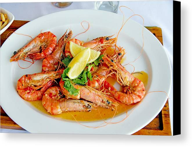 South Canvas Print featuring the photograph A Plate Of Shrimp by Evan Peller