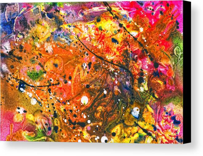 Abstract Canvas Print featuring the mixed media Abstract - Crayon - The Excitement by Mike Savad