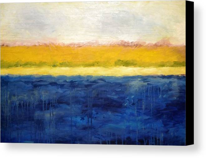 Abstract Landscape Canvas Print featuring the painting Abstract Dunes With Blue And Gold by Michelle Calkins