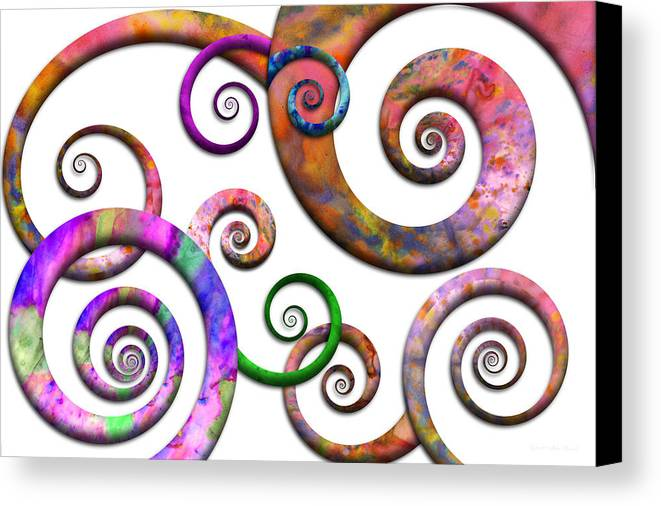 Abstract Canvas Print featuring the digital art Abstract - Spirals - Planet X by Mike Savad