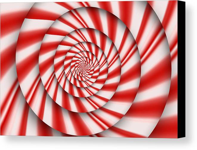 Abstract Canvas Print featuring the digital art Abstract - Spirals - The Power Of Mint by Mike Savad