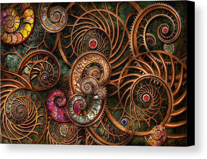 Steampunk Canvas Print featuring the photograph Abstract - The Wonders Of Sea by Mike Savad