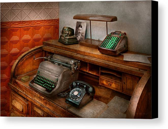 Accountant Canvas Print featuring the photograph Accountant - Typewriter - The Accountants Office by Mike Savad