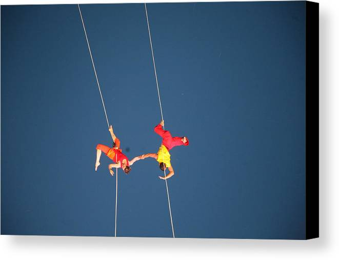 Acrobats Canvas Print featuring the photograph Acrobats Engage by Shaeley Garrett
