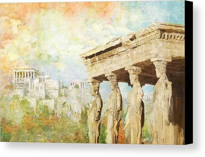 Greecetemple Of Apollo Epicurius At Bassaeacropolis Canvas Print featuring the painting Acropolis Of Athens by Catf