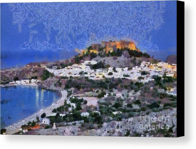 Rhodes Canvas Print featuring the painting Acropolis Village And Beach Of Lindos by George Atsametakis