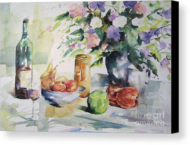Watercolours Canvas Print featuring the painting Alfresco by John Nussbaum
