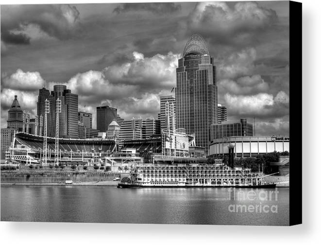 Cityscapes Canvas Print featuring the photograph All American City Bw by Mel Steinhauer
