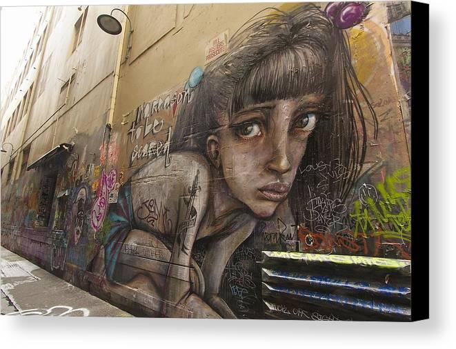 Australia Canvas Print featuring the photograph Alley Graffiti #2 by Stuart Litoff
