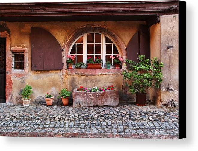 Alsace Canvas Print featuring the photograph Alsatian Home In Kaysersberg France by Greg Matchick