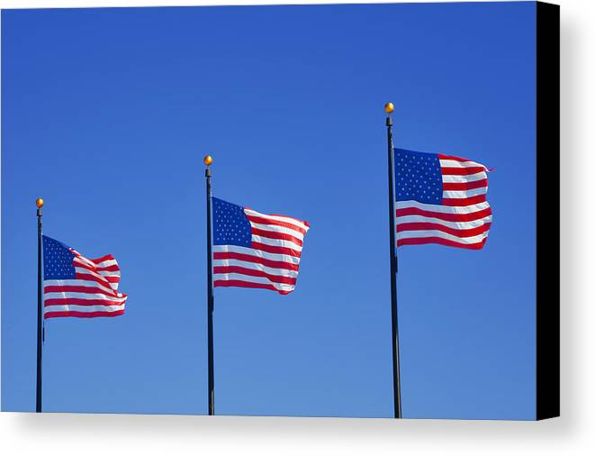 Three Canvas Print featuring the photograph American Flags - Navy Pier Chicago by Christine Till