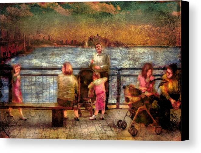 Savad Canvas Print featuring the digital art Americana - People - Jewish Families by Mike Savad