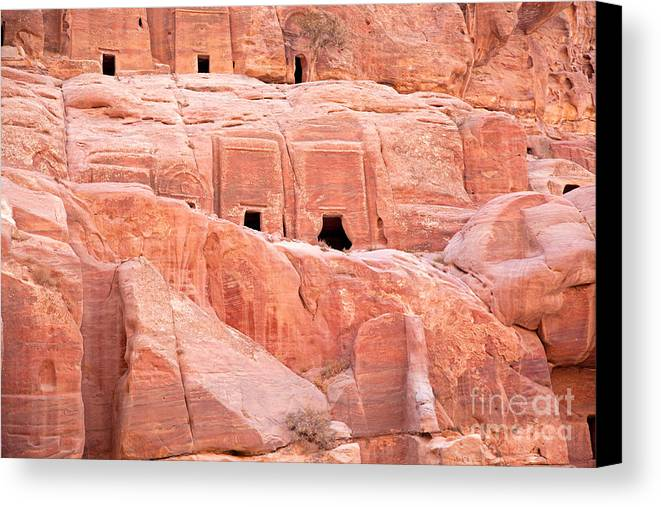 Ancient Canvas Print featuring the photograph Ancient Buildings In Petra by Jane Rix
