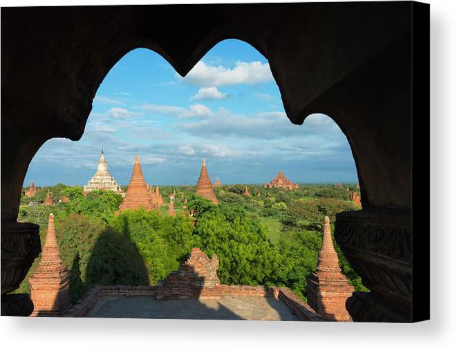 Architecture Canvas Print featuring the photograph Ancient Temples And Pagodas, Bagan by Keren Su