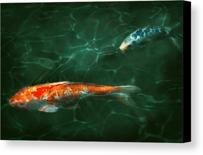 Koi Canvas Print featuring the photograph Animal - Fish - Koi - Another Fish Story by Mike Savad