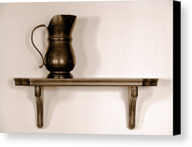 Pitcher Canvas Print featuring the photograph Antique Pewter Pitcher On Old Wood Shelf by Olivier Le Queinec