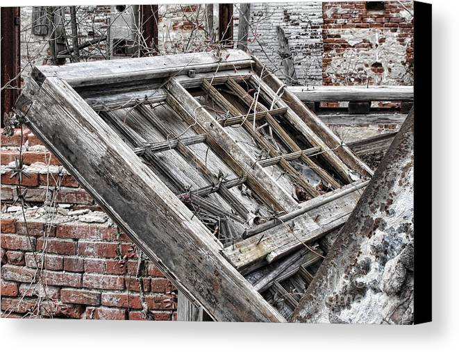 Abandoned Canvas Print featuring the photograph Antique Wood Window by Olivier Le Queinec