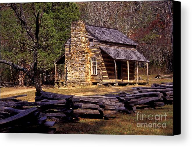 Log Cabin Canvas Print featuring the photograph Appalachian Homestead by Paul W Faust - Impressions of Light
