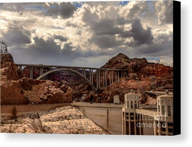The Mike O'callaghan Canvas Print featuring the photograph Arch Bridge And Hoover Dam by Robert Bales