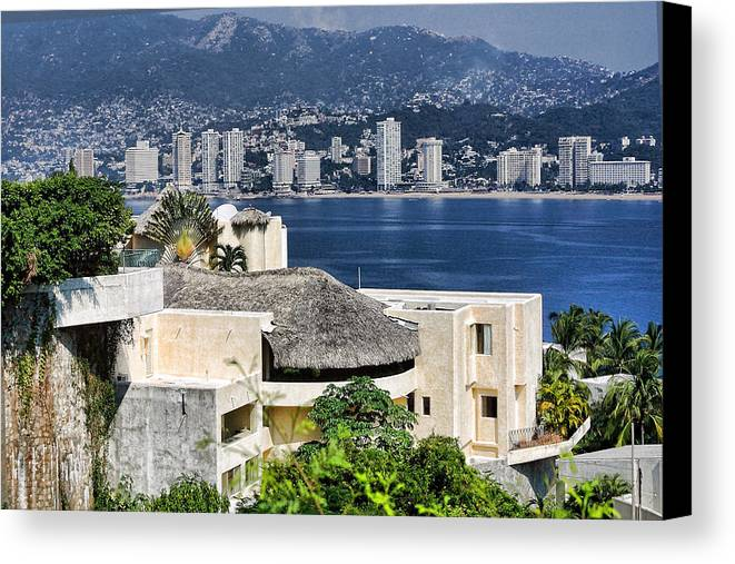 Travel Canvas Print featuring the photograph Architecture With Ith Acapulco Skyline by Linda Phelps